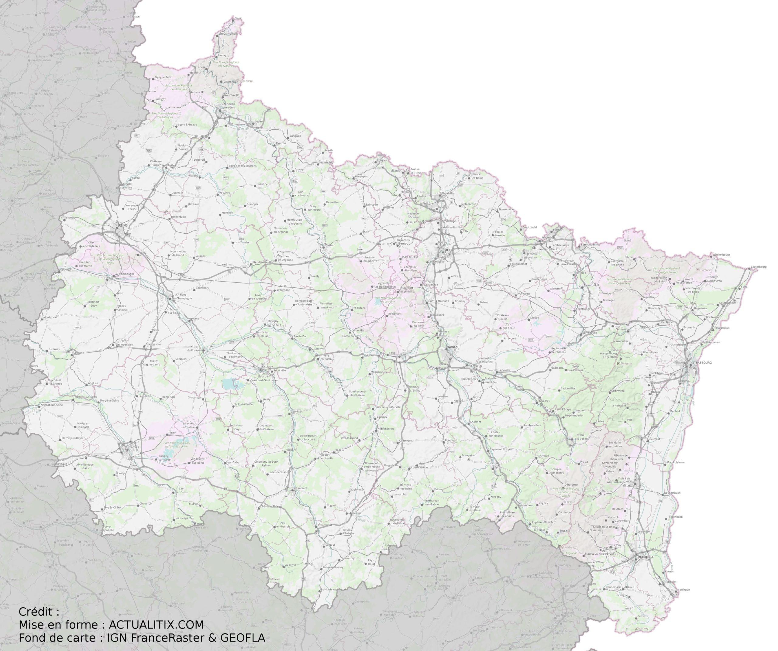 Carte Du Grand Est - Grand Est Carte Des Villes serapportantà Carte Numero Departement