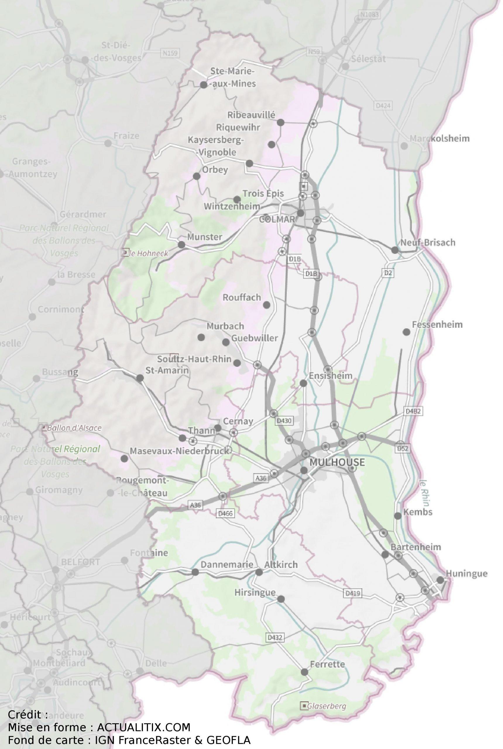 Carte Du Haut-Rhin - Haut-Rhin Carte Du Département 68 pour Carte Avec Departement