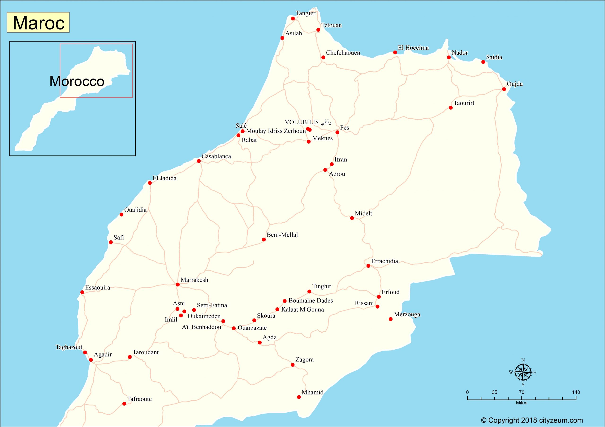 Carte Du Maroc, Plan Des 90 Principaux Lieux avec Petite Carte De France A Imprimer