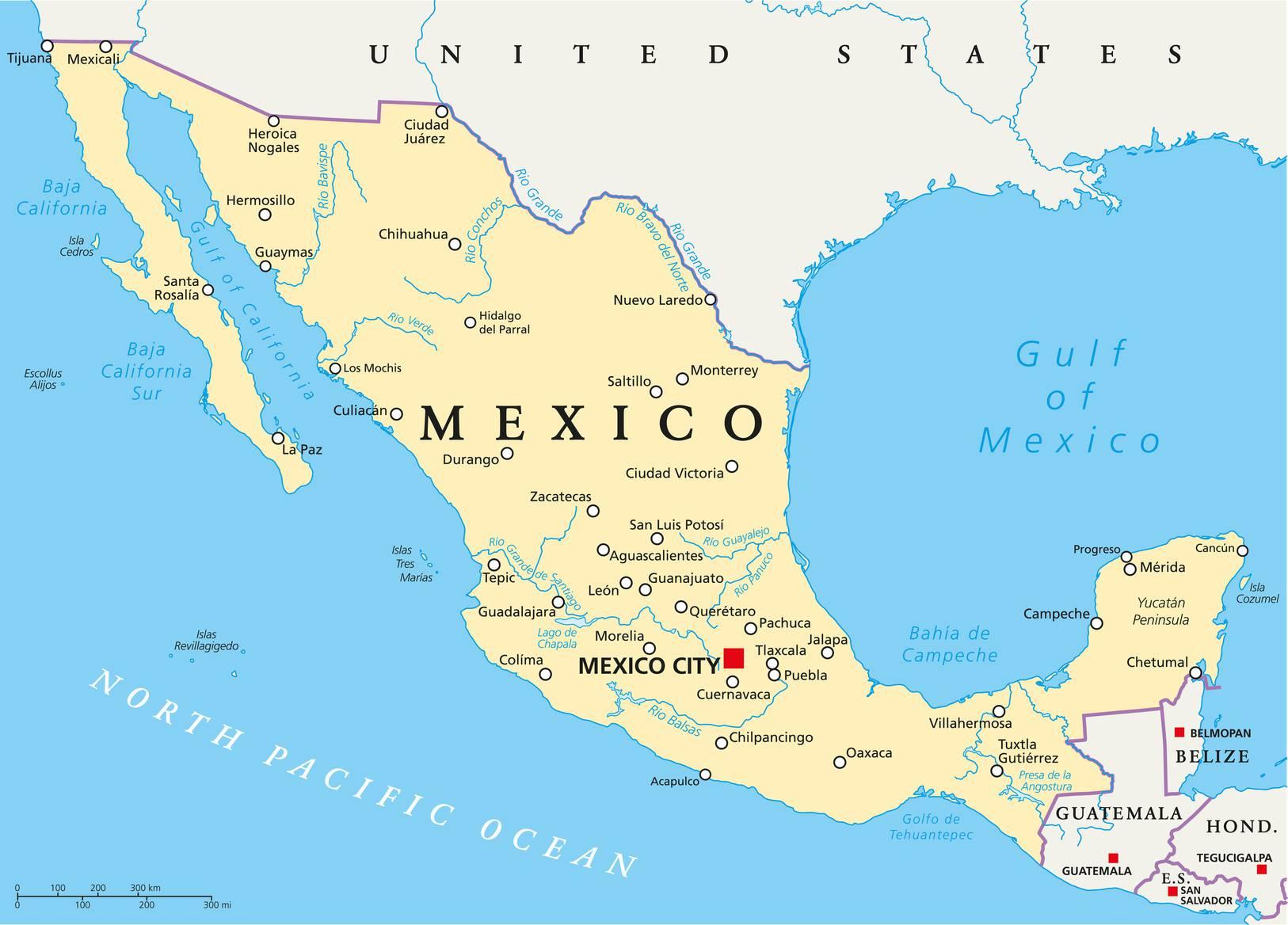 Carte Du Mexique - Plusieurs Cartes Du Pays D'amérique Centrale encequiconcerne Carte Des Etats Unis À Imprimer
