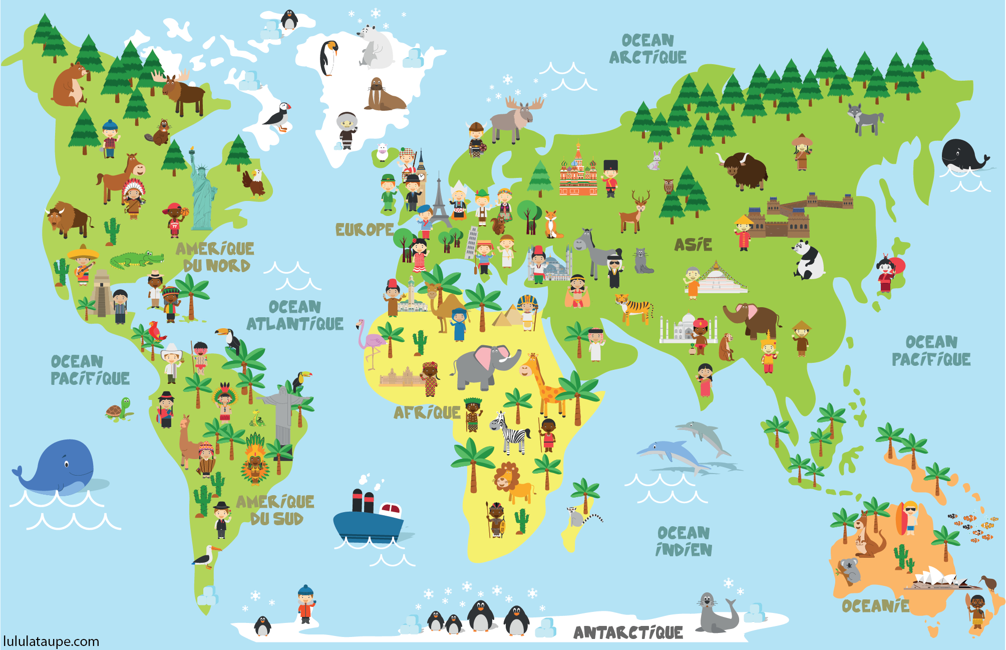 Carte Du Monde, Animaux, Monuments Et Enfants Des Différents encequiconcerne Apprendre Les Animaux Pour Bebe