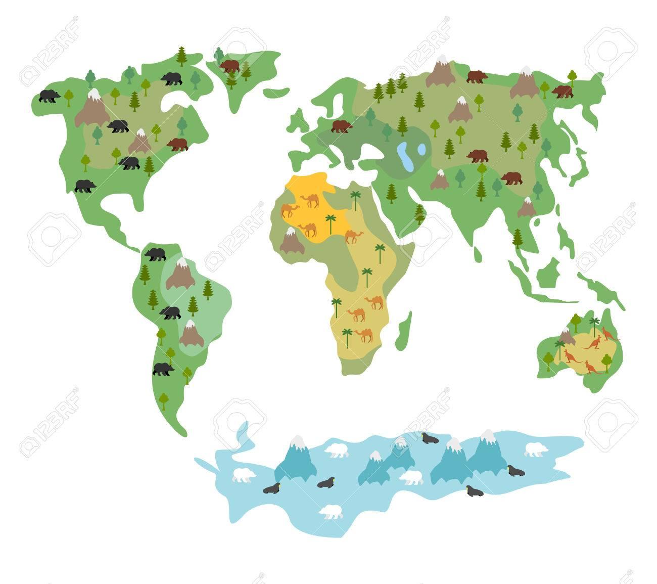 Carte Du Monde Avec Des Animaux Et Des Arbres. Carte Géographique Du Globe  Avec La Flore Et La Faune. Carte Enfants De Bande Dessinée Conditionnelles destiné Carte Du Monde Enfant