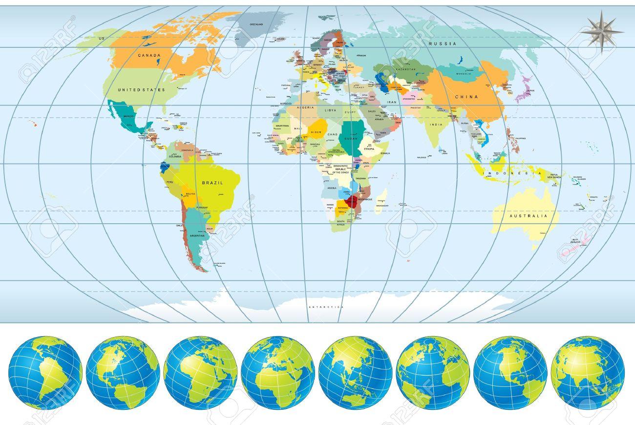 Carte Du Monde Avec Globes - Détaillé Vectoriels Modifiables, Comprennent  Tous Les Noms De Pays Et Les Capitales - Lignes De Contour Frontière encequiconcerne Carte Du Monde Avec Capitale