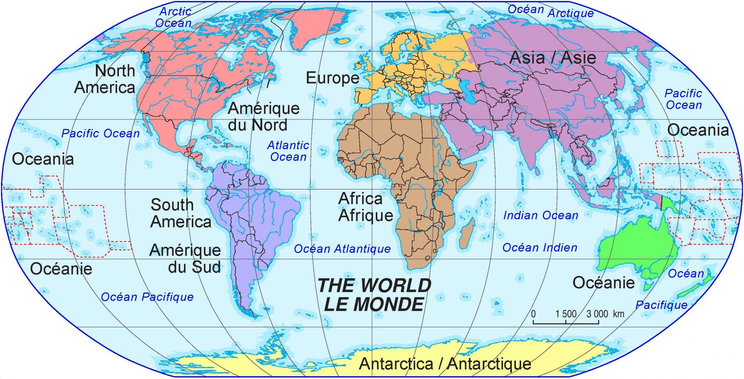 Carte Du Monde Continent, La Carte Du Monde Continent intérieur Carte Des Pays D Europe