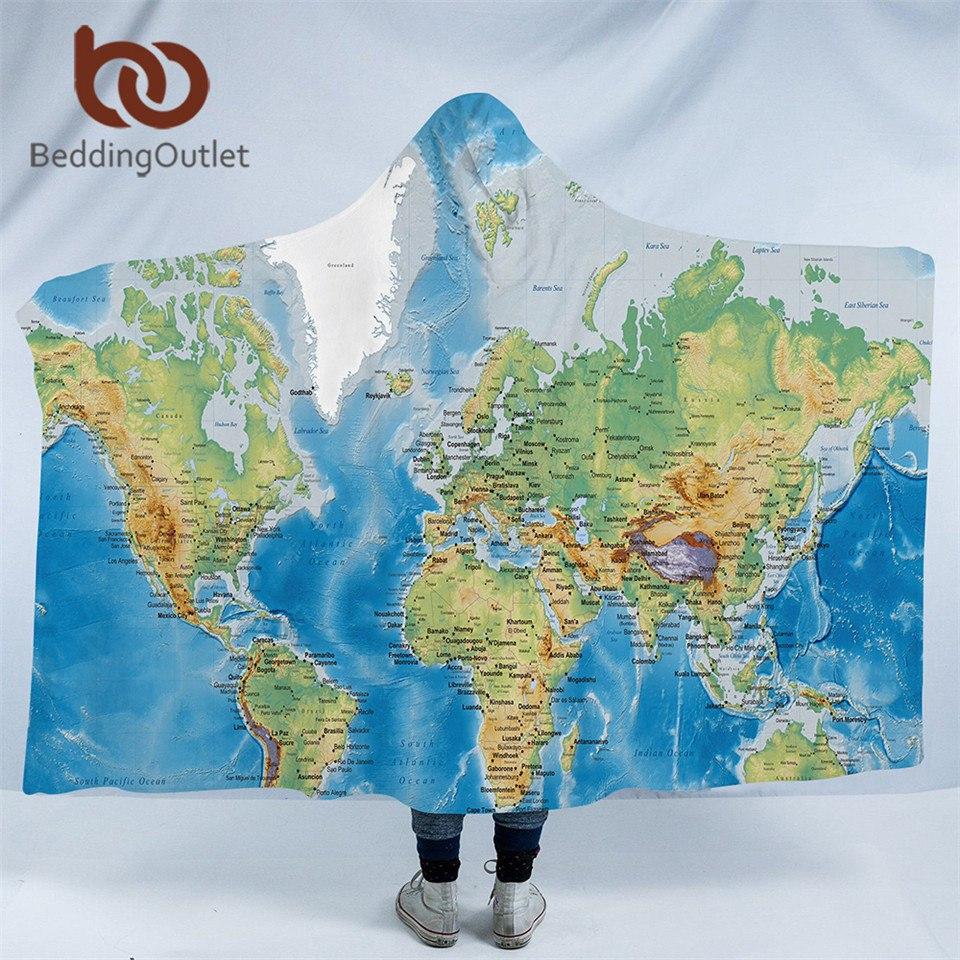 Carte Du Monde - Couverture À Capuchon - Microfibre Taille Pour Adultes Ou  Enfants. pour Carte Du Monde Pour Enfant