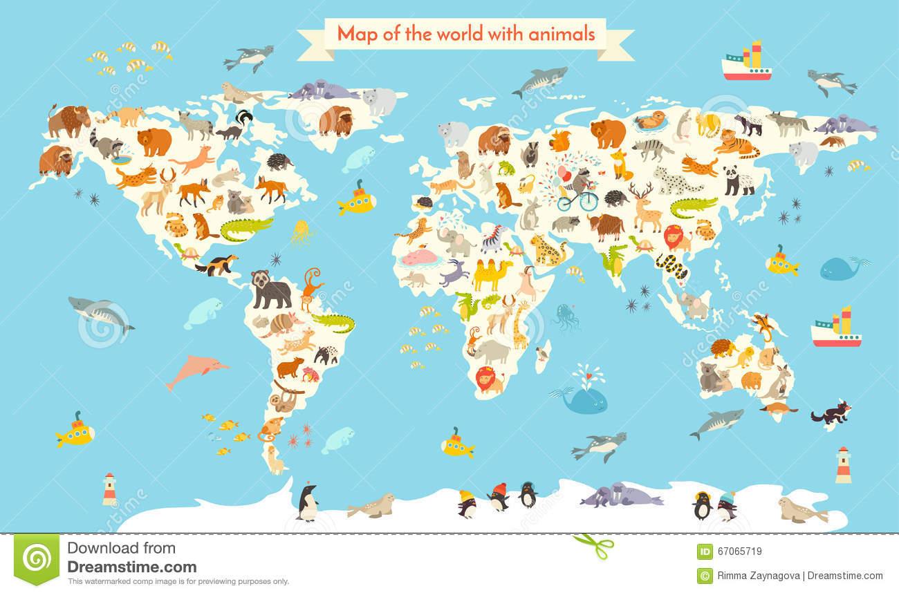 Carte Du Monde D'animaux Illustration Colorée De Vecteur De tout Carte Du Monde Enfant
