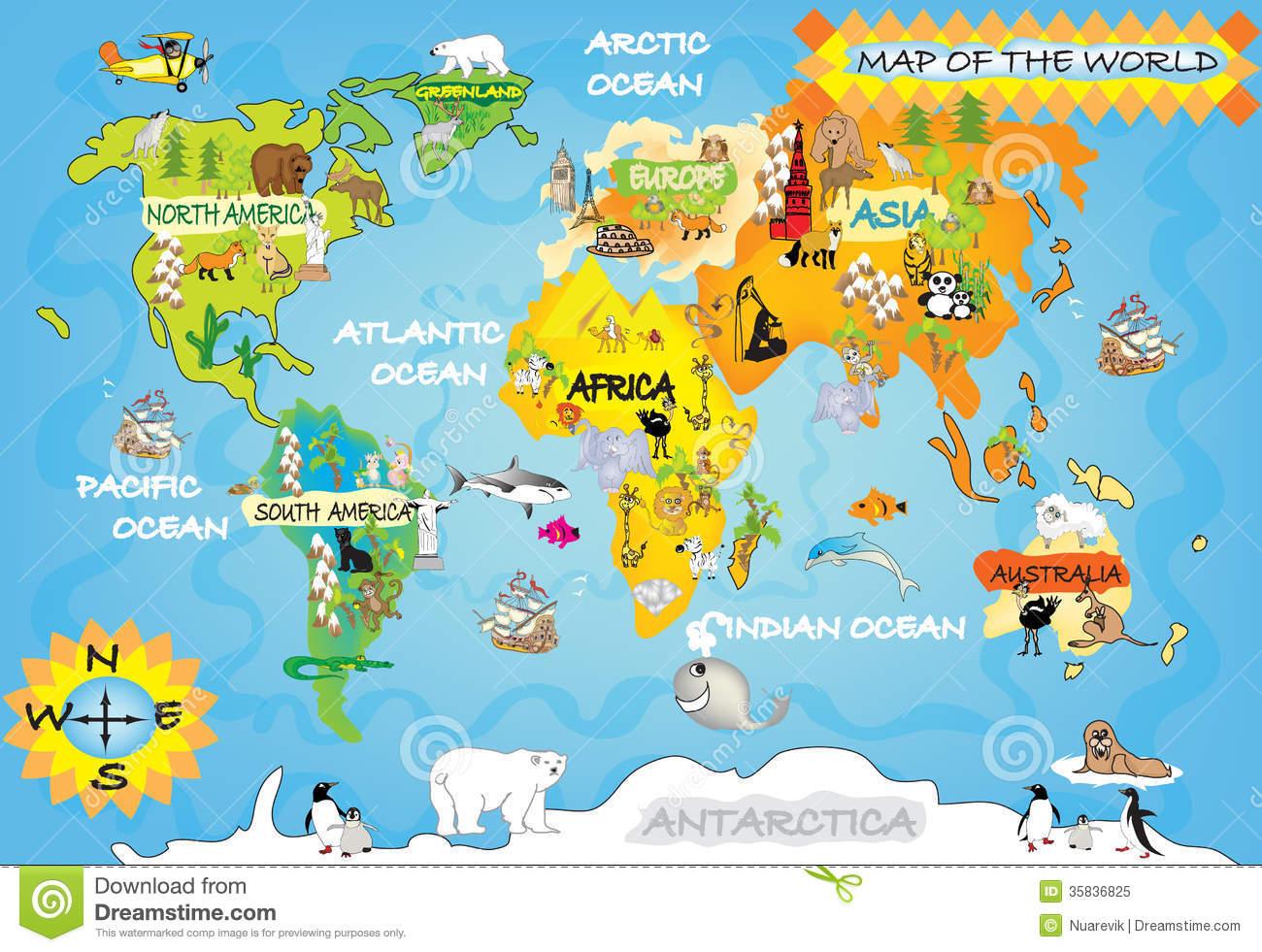 Carte Du Monde De L'enfant Illustration Stock. Illustration avec Carte Du Monde Pour Enfant