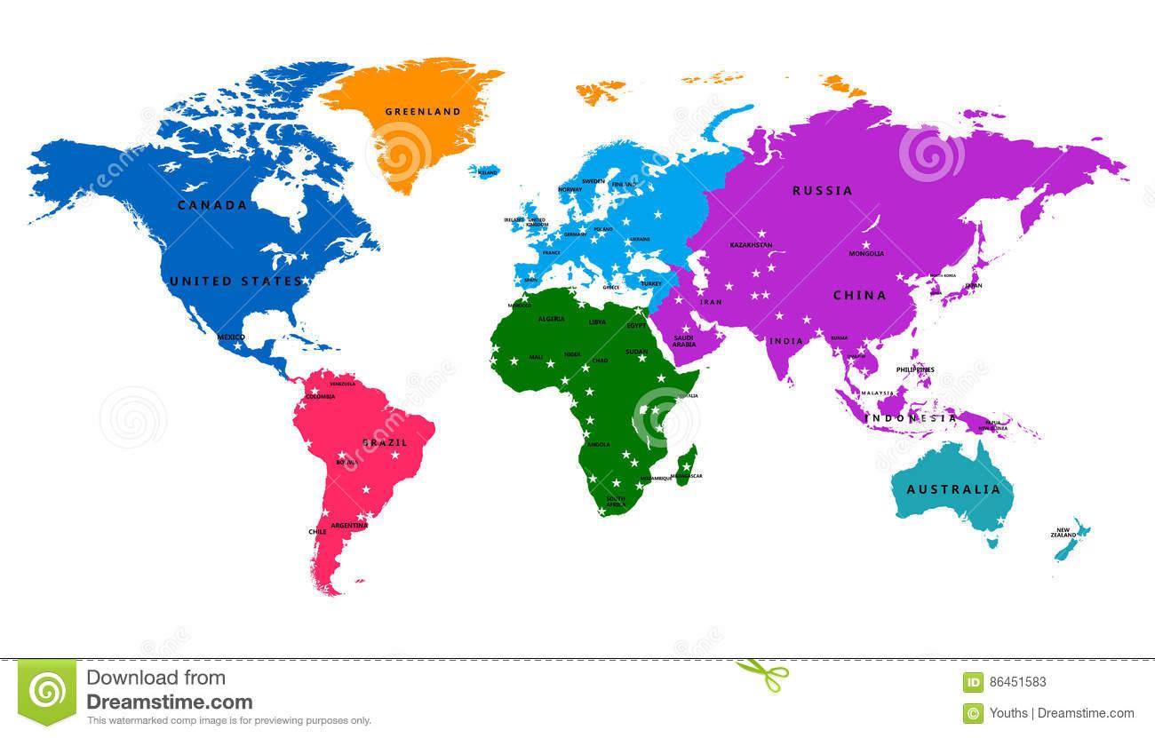Carte Du Monde De Vecteur Avec Le Pays Et Le Capital serapportantà Carte D Europe Avec Pays Et Capitales