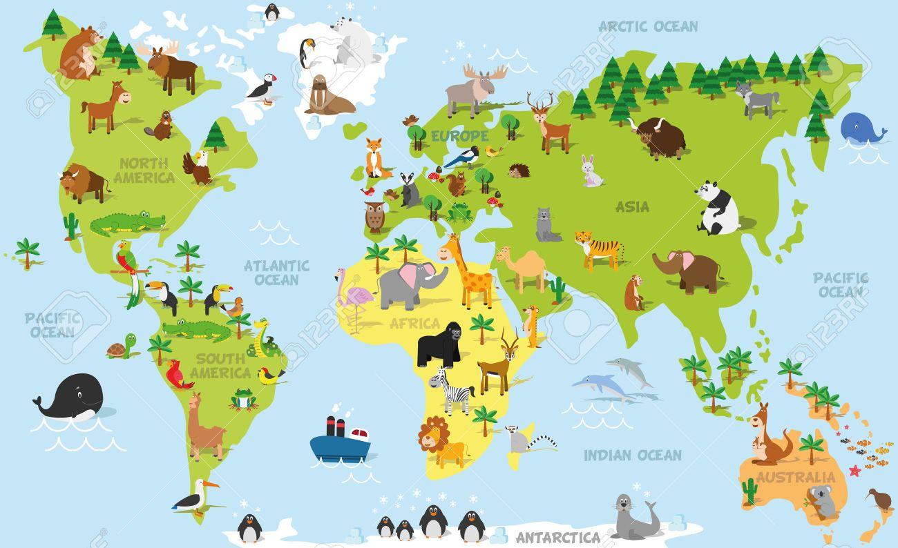 Carte Du Monde Drôle De Bande Dessinée Avec Des Animaux Traditionnels De  Tous Les Continents Et Les Océans. Vector Illustration Pour L'éducation Et à Carte Europe Enfant