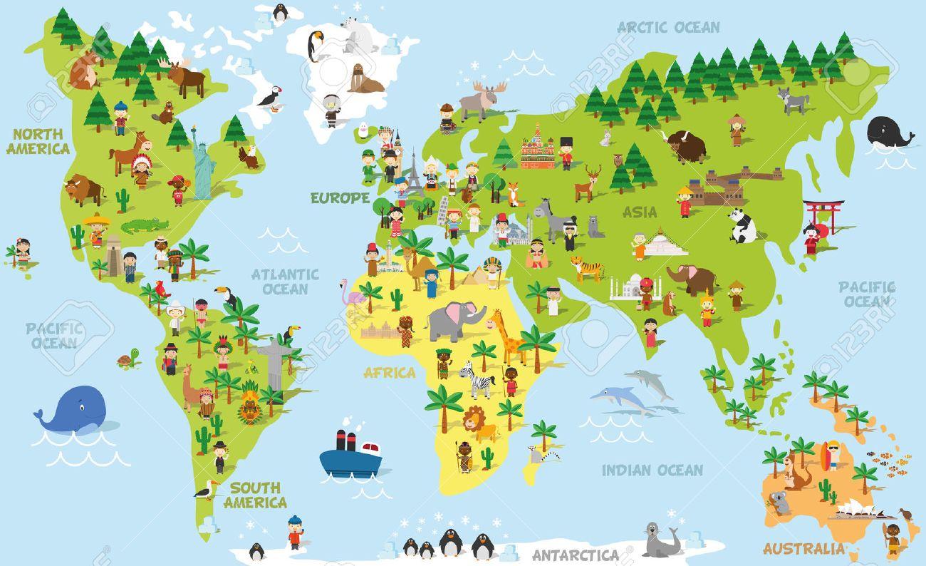 Carte Du Monde Drôle De Bande Dessinée Avec Des Enfants De Différentes  Nationalités, Les Animaux Et Les Monuments De Tous Les Continents Et Les à Carte Europe Enfant