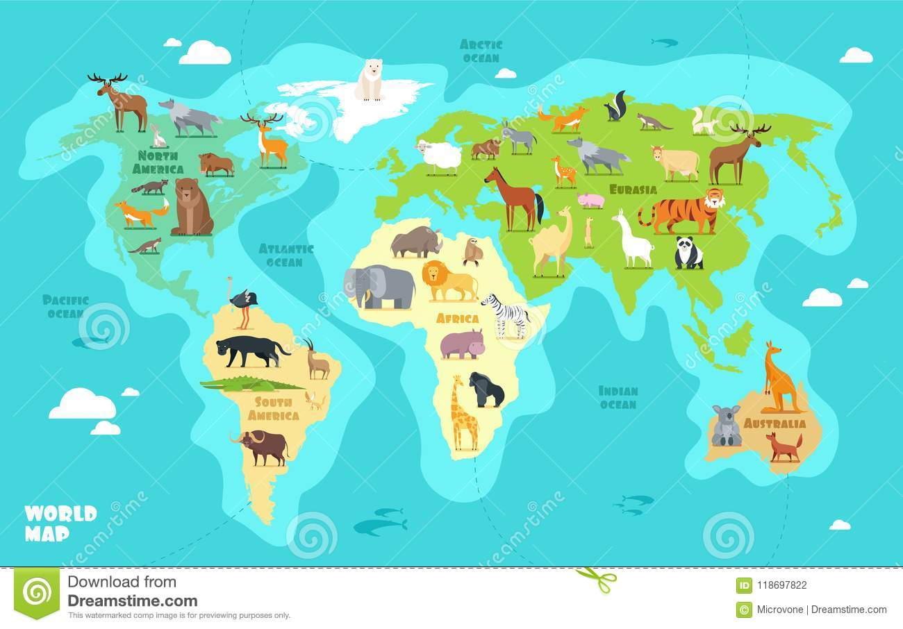 Carte Du Monde En Bande Dessinée Pour Enfants Géographie pour Carte Du Monde Pour Enfant