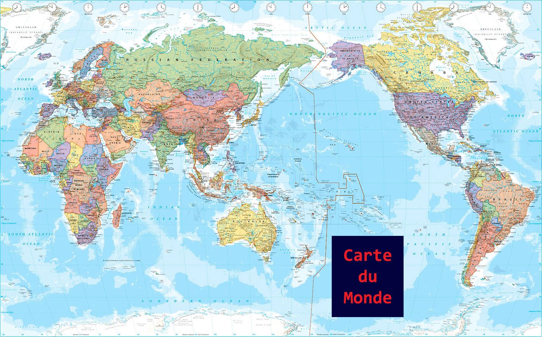 Carte Du Monde En Français - Voyages - Cartes encequiconcerne Carte Du Monde Avec Capitale