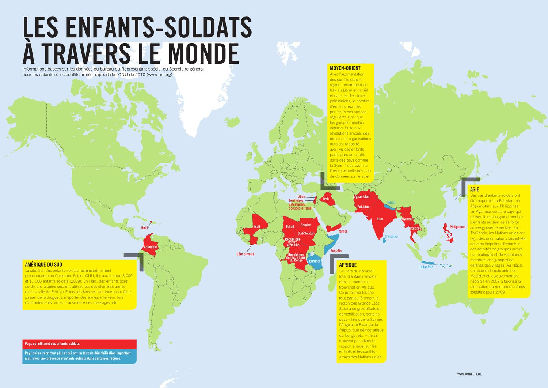Carte Du Monde «Enfants Soldats» 2012 By Amnesty destiné Carte Du Monde Enfant
