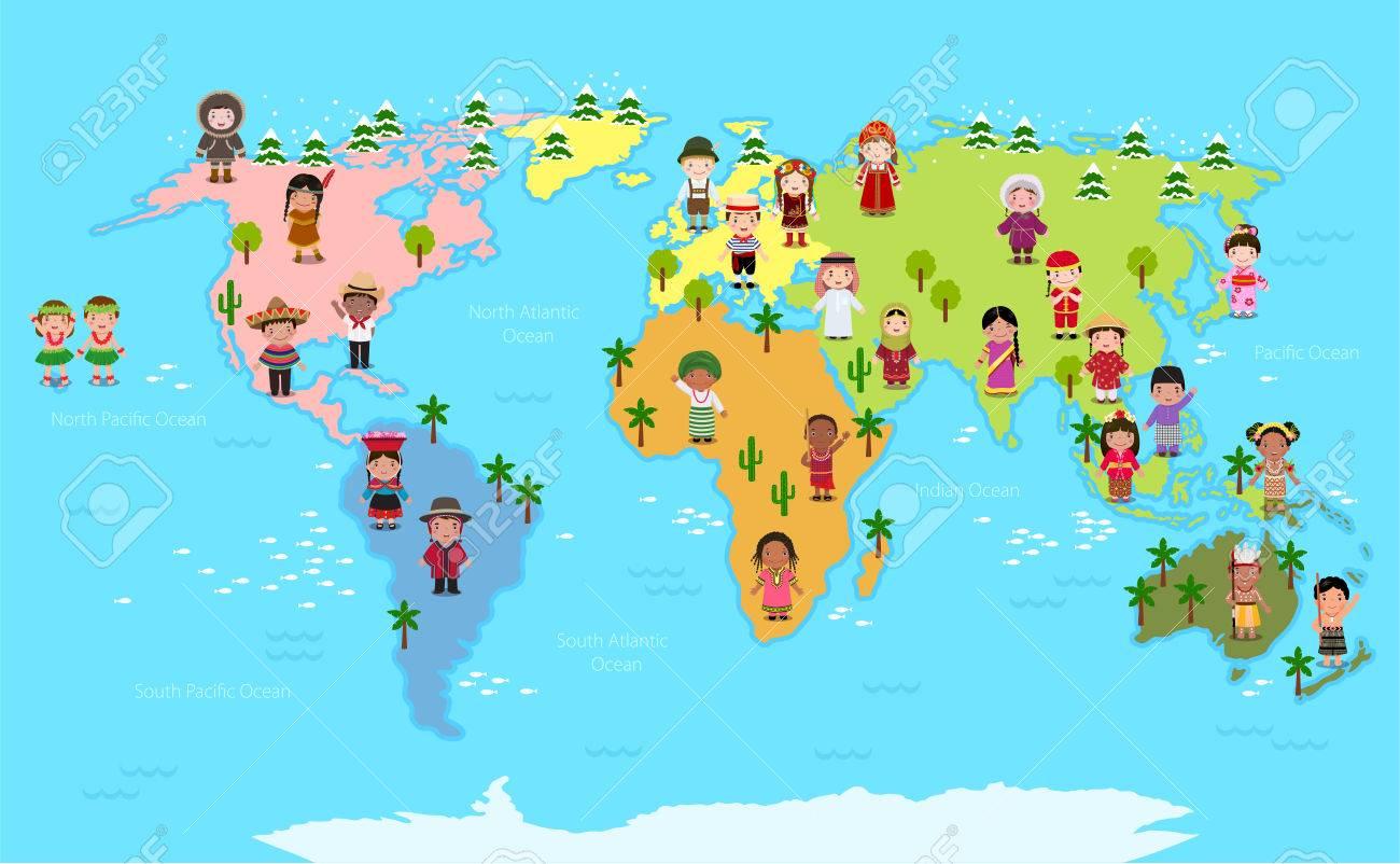 Carte Du Monde Et Enfants De Diverses Nationalités pour Carte Du Monde Enfant