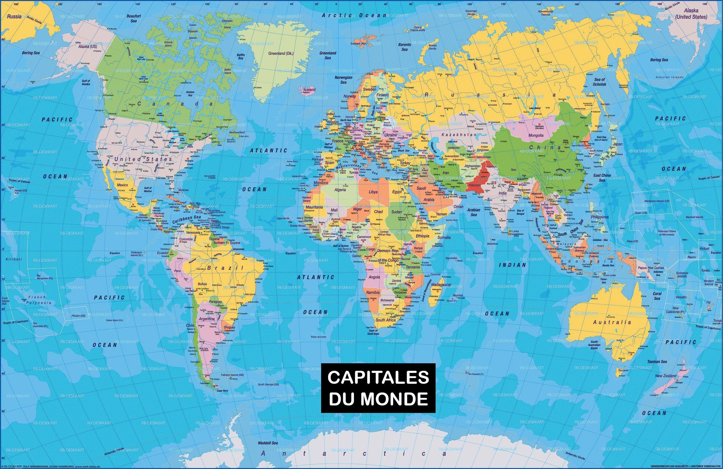 Carte Du Monde - Noms Des Capitales | Carte Du Monde Fond D tout Carte Du Monde Avec Capitale