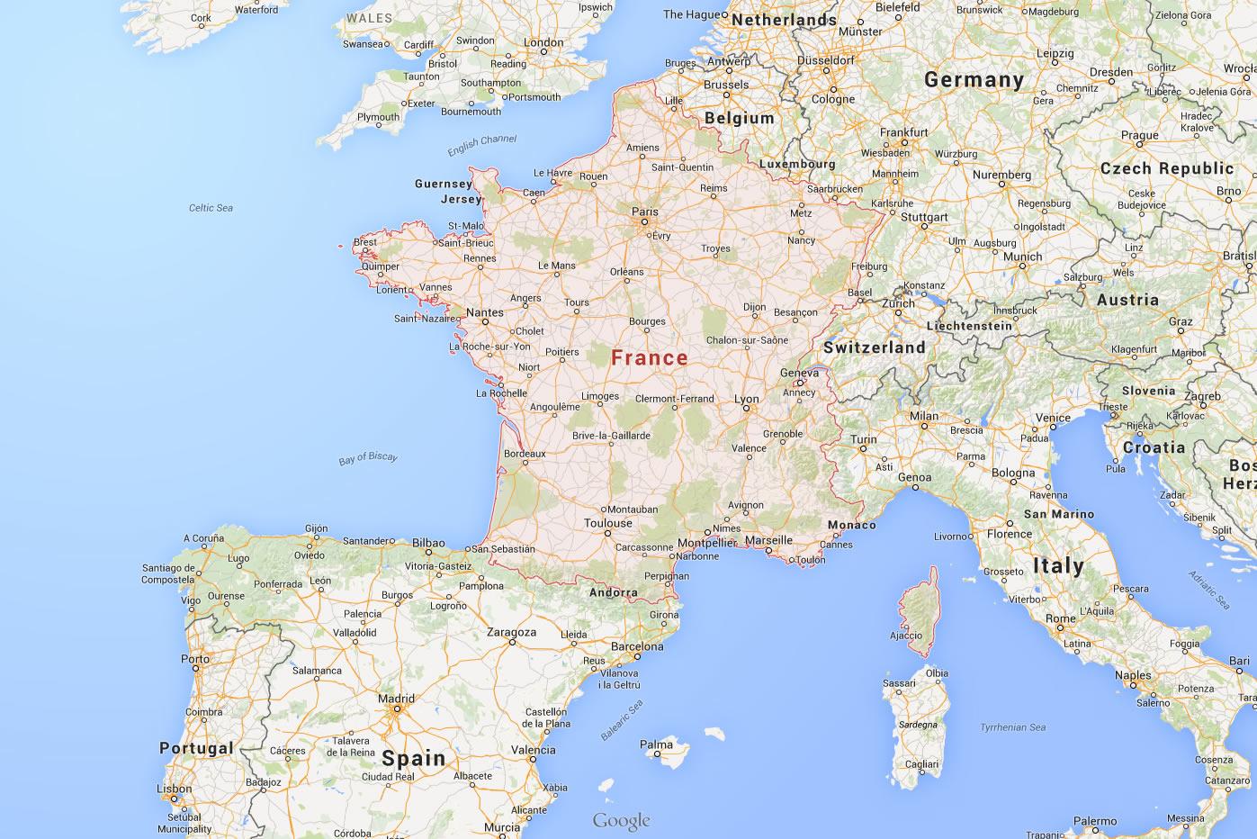 Carte Du Monde Pays serapportantà Carte De France Grande Ville