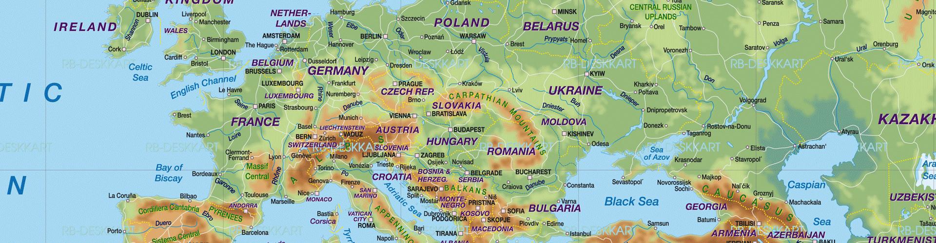 Carte Du Monde Pays tout Carte Géographique De L Europe
