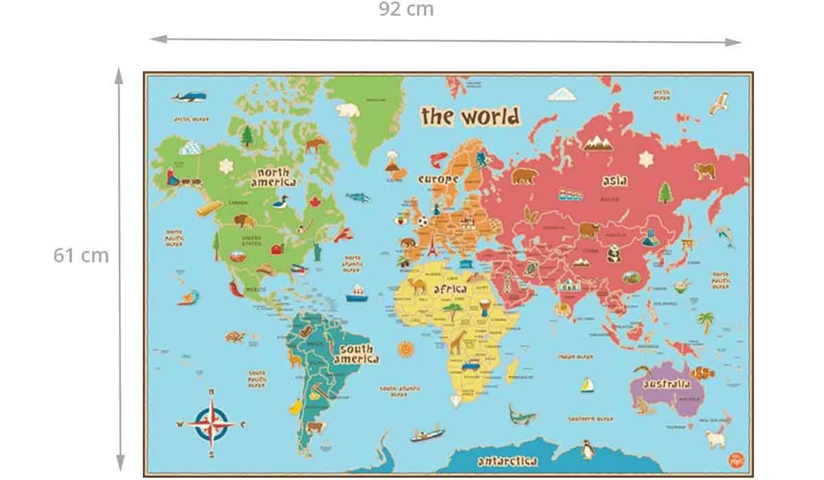 Carte Du Monde Pour Enfants Adhésive Repositionnable Et destiné Carte Europe Enfant