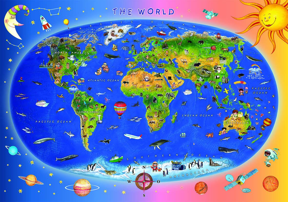 Carte Du Monde Pour Enfants (En Anglais) - 300 Pièces Dino destiné Carte Du Monde Pour Enfant