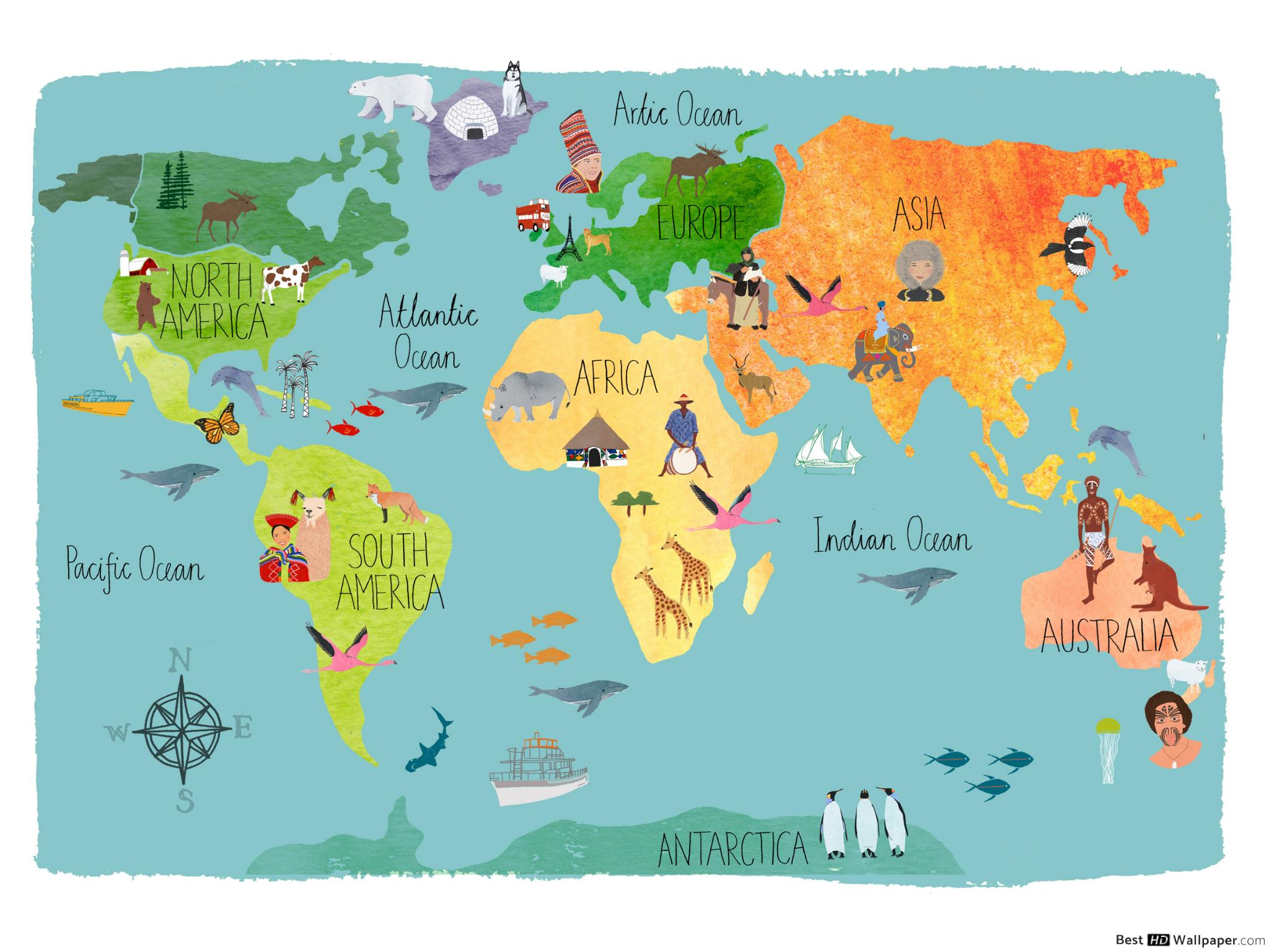 Carte Du Monde Pour Les Enfants Hd Fond D'écran Télécharger destiné Carte Du Monde Pour Enfant