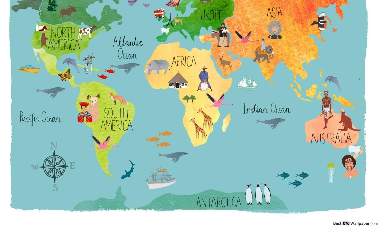Carte Du Monde Pour Les Enfants Hd Fond D'écran Télécharger destiné Carte Europe Enfant