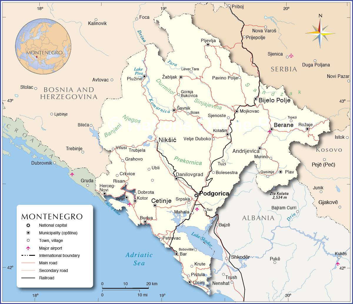 Carte Du Monténégro - Plusieurs Cartes Du Pays En Europe à Carte Des Pays D Europe