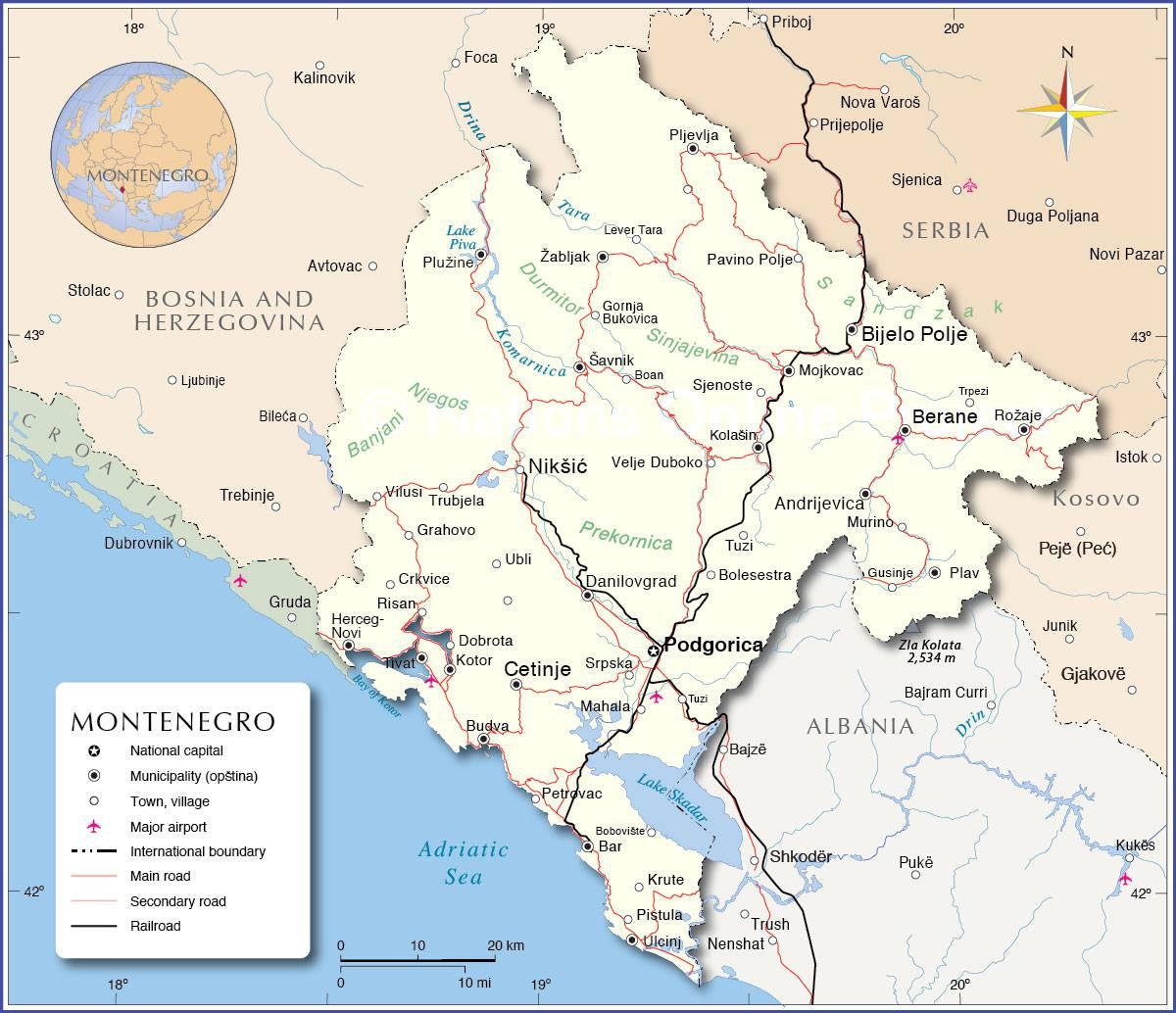 Carte Du Monténégro - Plusieurs Cartes Du Pays En Europe tout Carte Pays D Europe