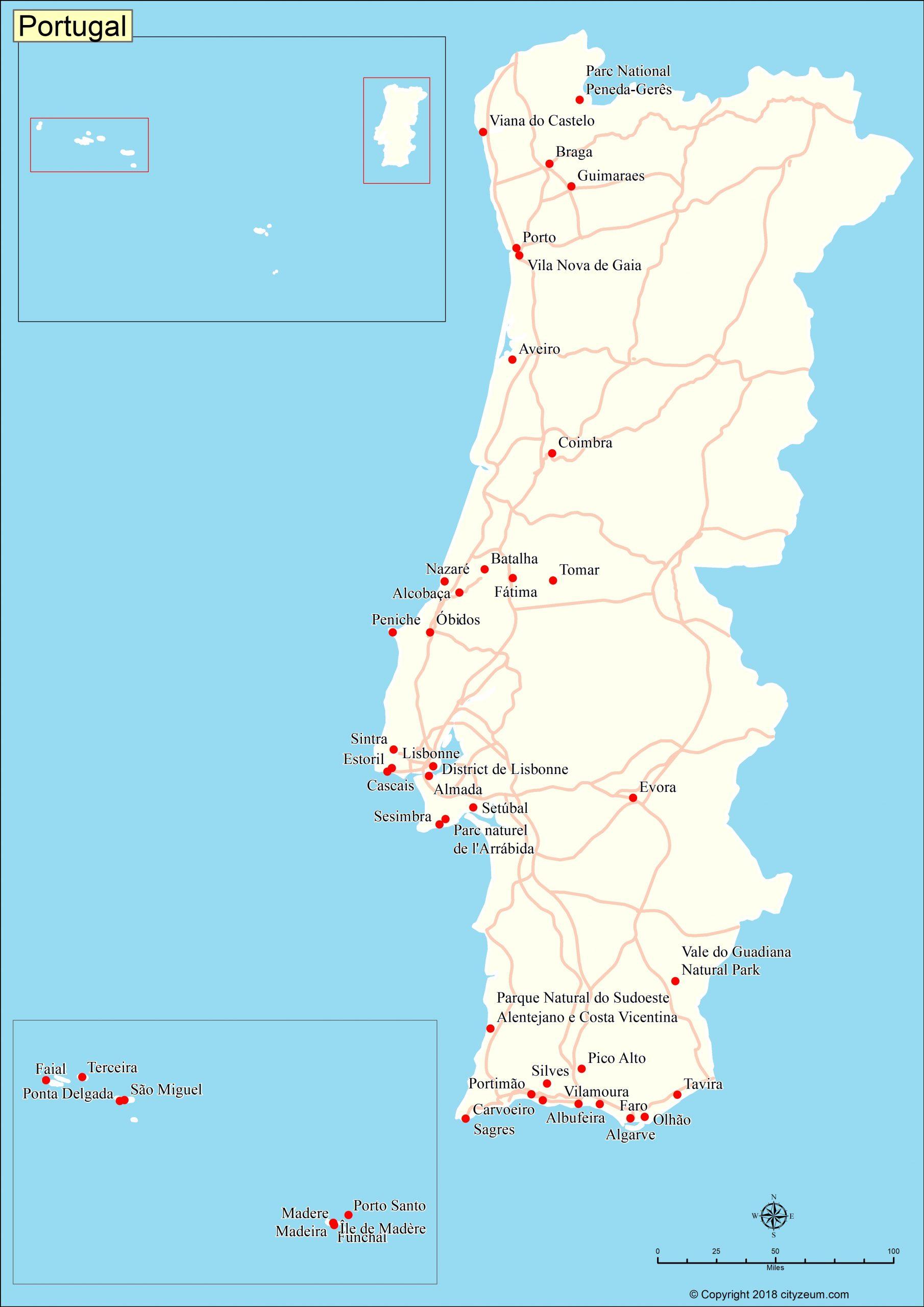 Carte Du Portugal, Plan Des 110 Principaux Lieux à Carte Des Régions De France À Imprimer Gratuitement