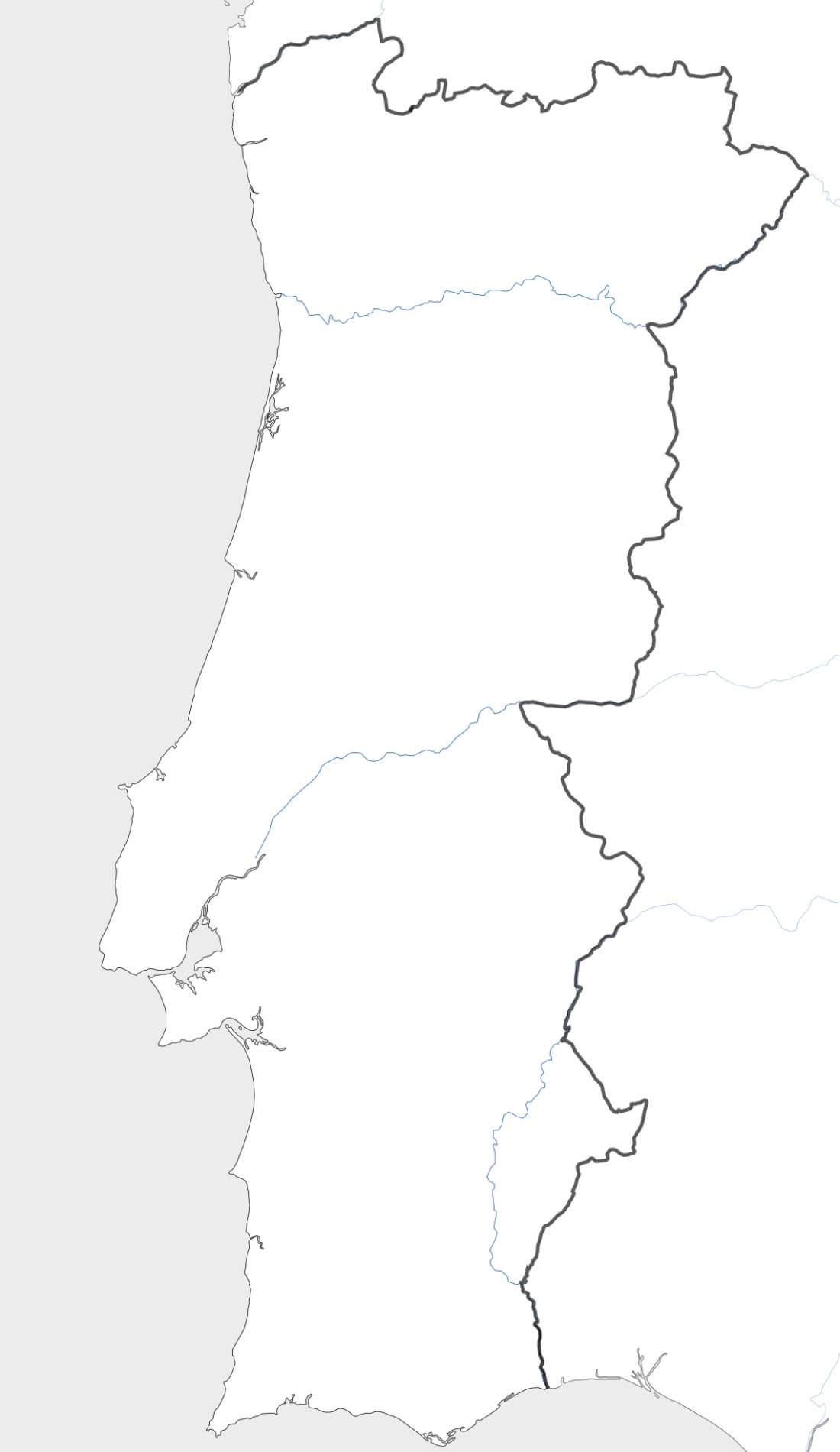 Carte Du Portugal pour Carte Des Régions Vierge