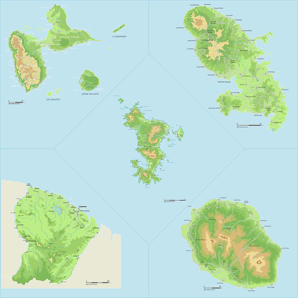Carte Du Relief Des Départements D'outre-Mer tout Carte France D Outre Mer