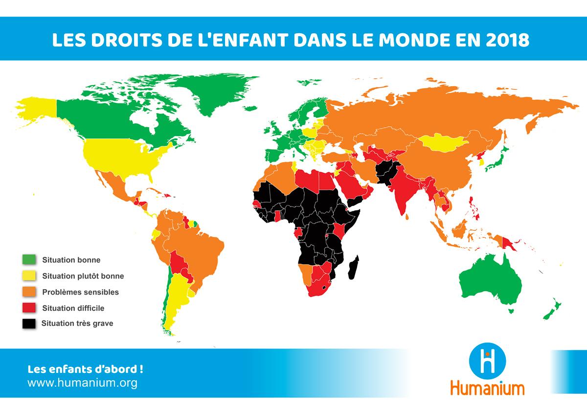 Carte Du Respect Des Droits De L'enfant Dans Le Monde - Humanium concernant Carte Du Monde Enfant