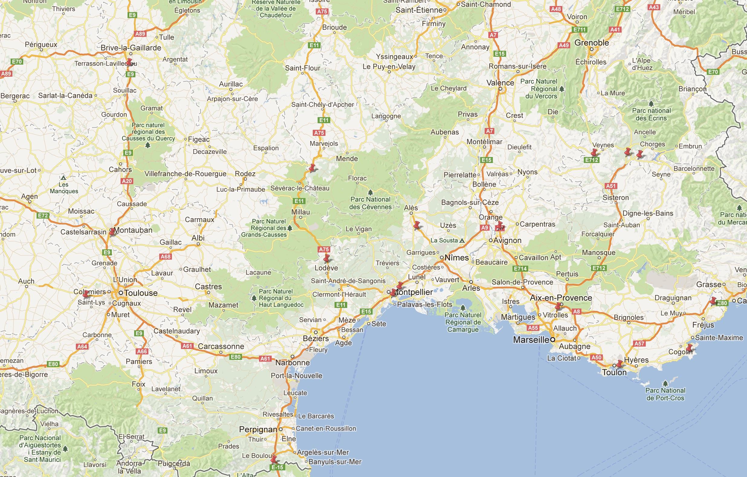 Carte Du Sud De La France - 1Jour1Col intérieur Imprimer Une Carte De France