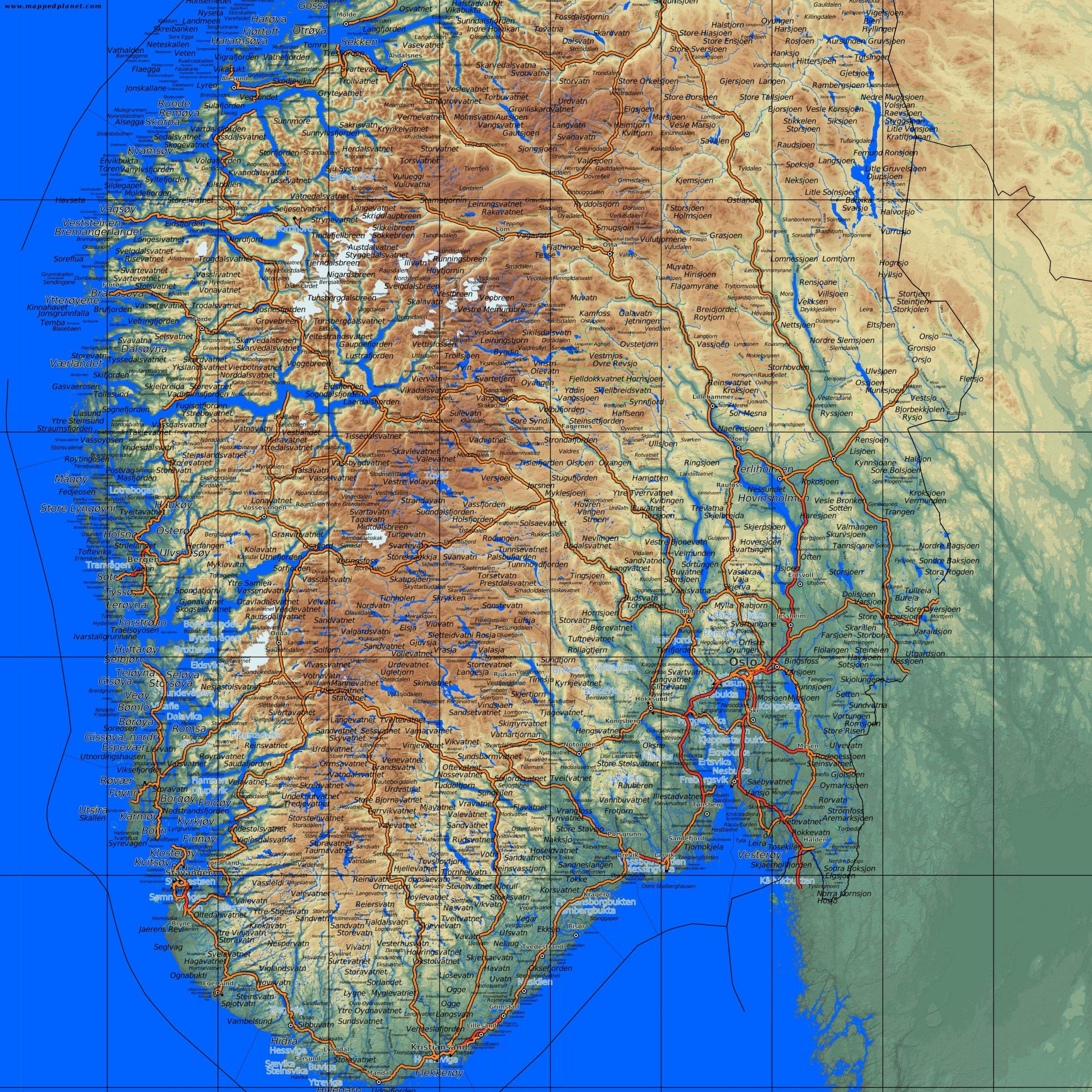 Carte Du Sud De La Norvège - Plan Détaillé Du Sud De La dedans Carte De L Europe Détaillée