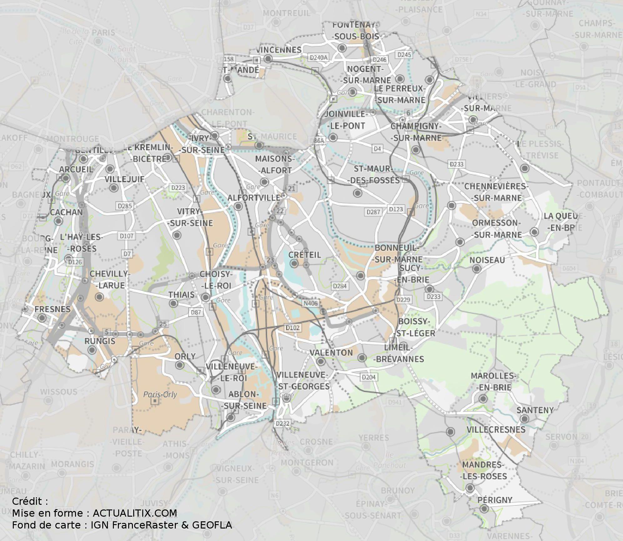 Carte Du Val-De-Marne - Val-De-Marne Carte Du Département 94 intérieur Petite Carte De France A Imprimer