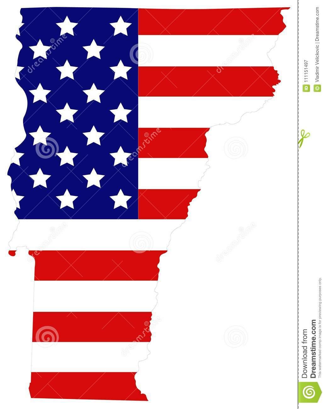 Carte Du Vermont Avec Le Drapeau Des Etats-Unis - État Dans dedans Carte Nouvelle Region