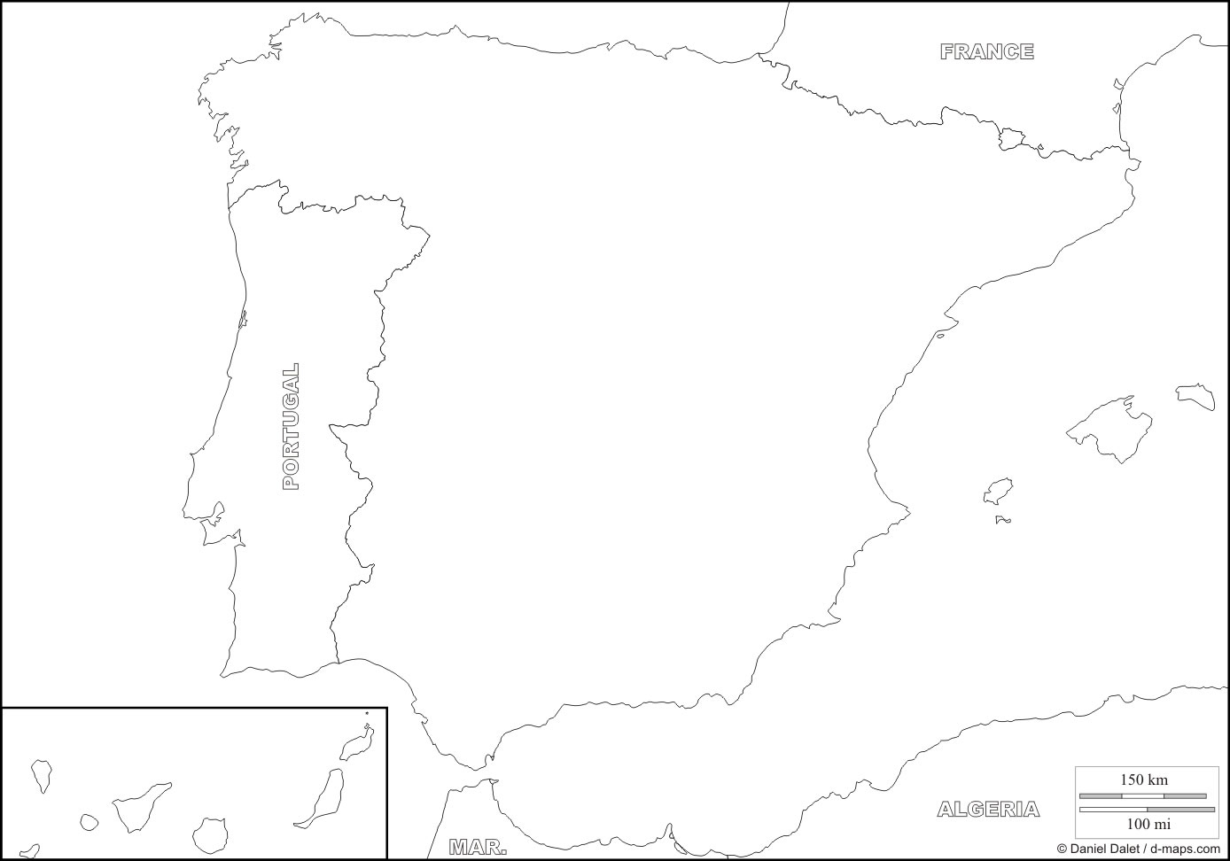 Carte Espagne Vierge, Carte Vierge De L'espagne destiné Carte De France A Remplir
