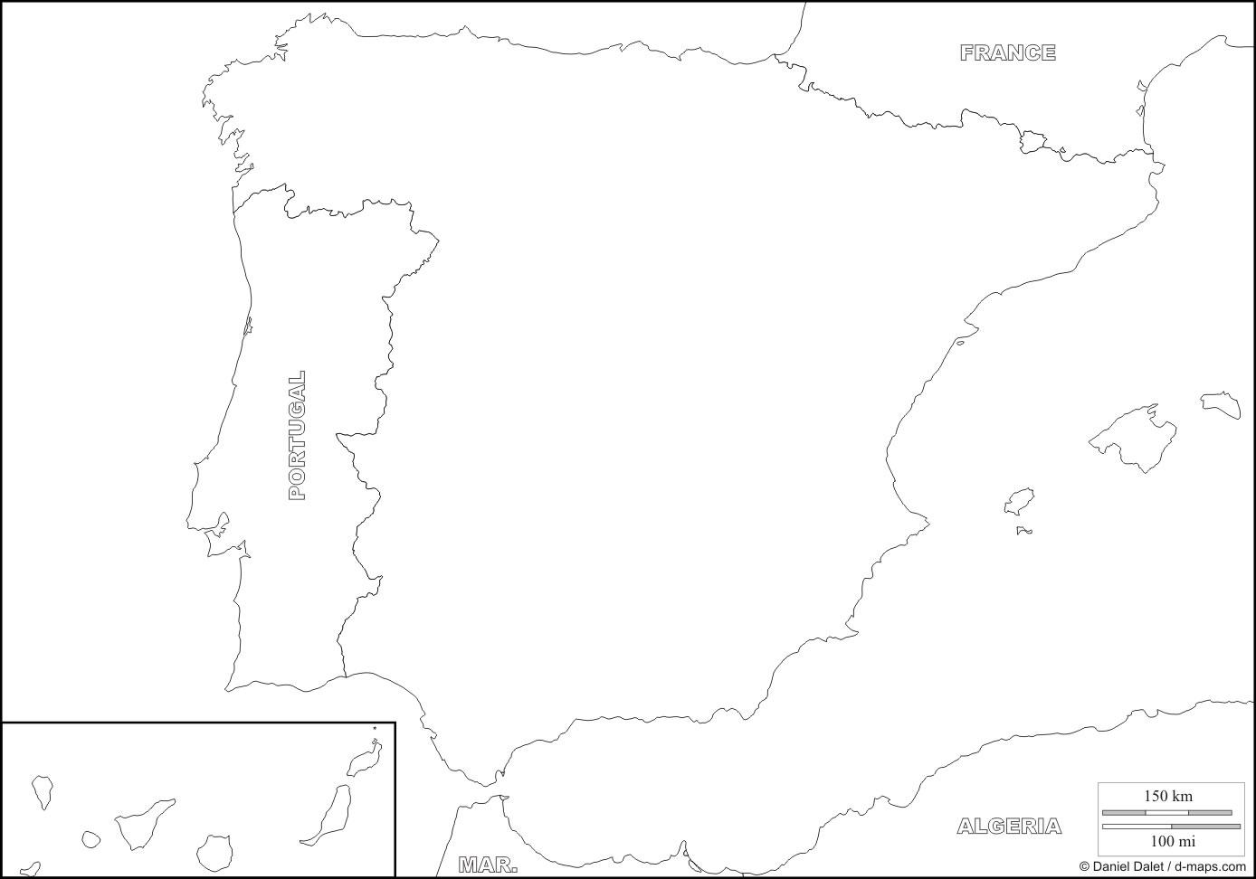 Carte Espagne Vierge, Carte Vierge De L'espagne tout Carte De France Des Régions Vierge