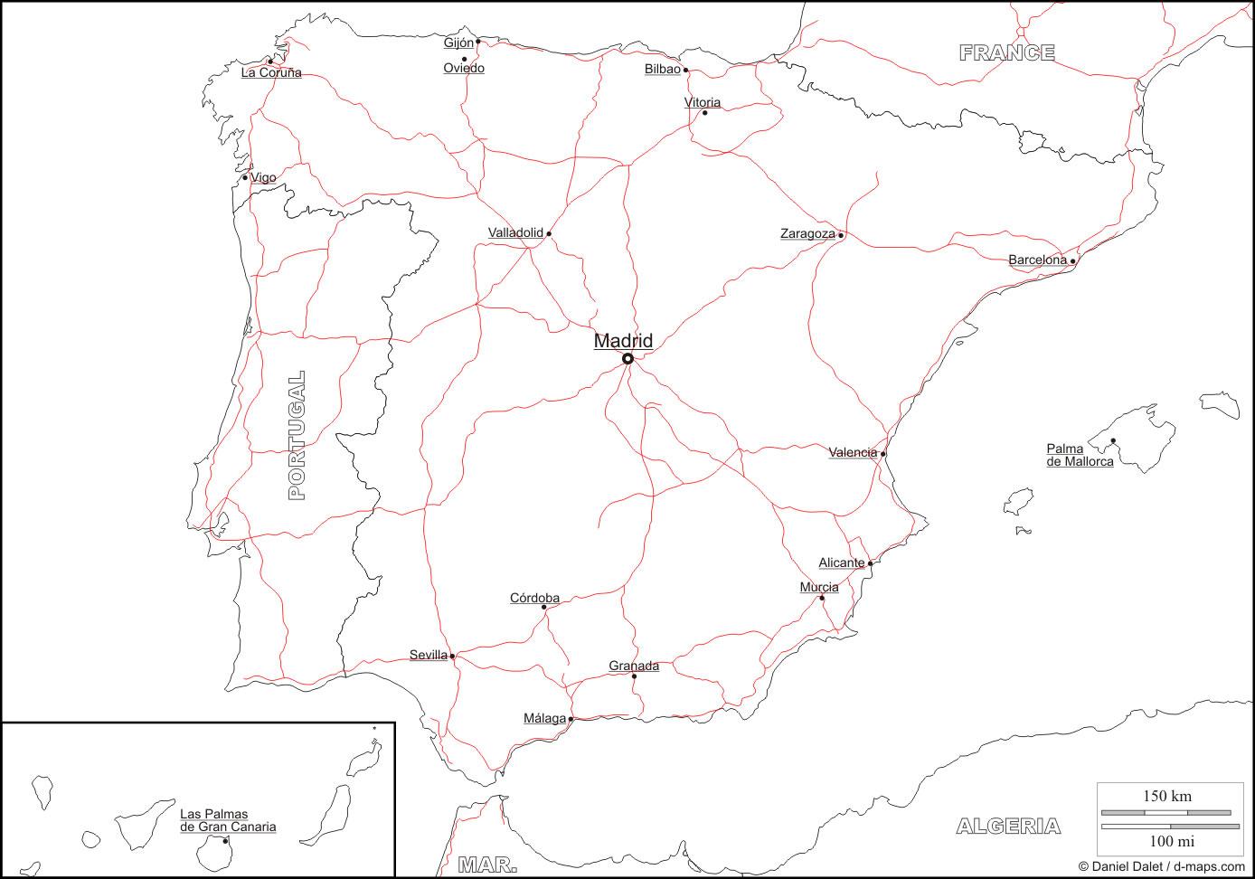 Carte Espagne Vierge Noms Villes, Carte Vierge De L'espagne avec Carte France Vierge Villes