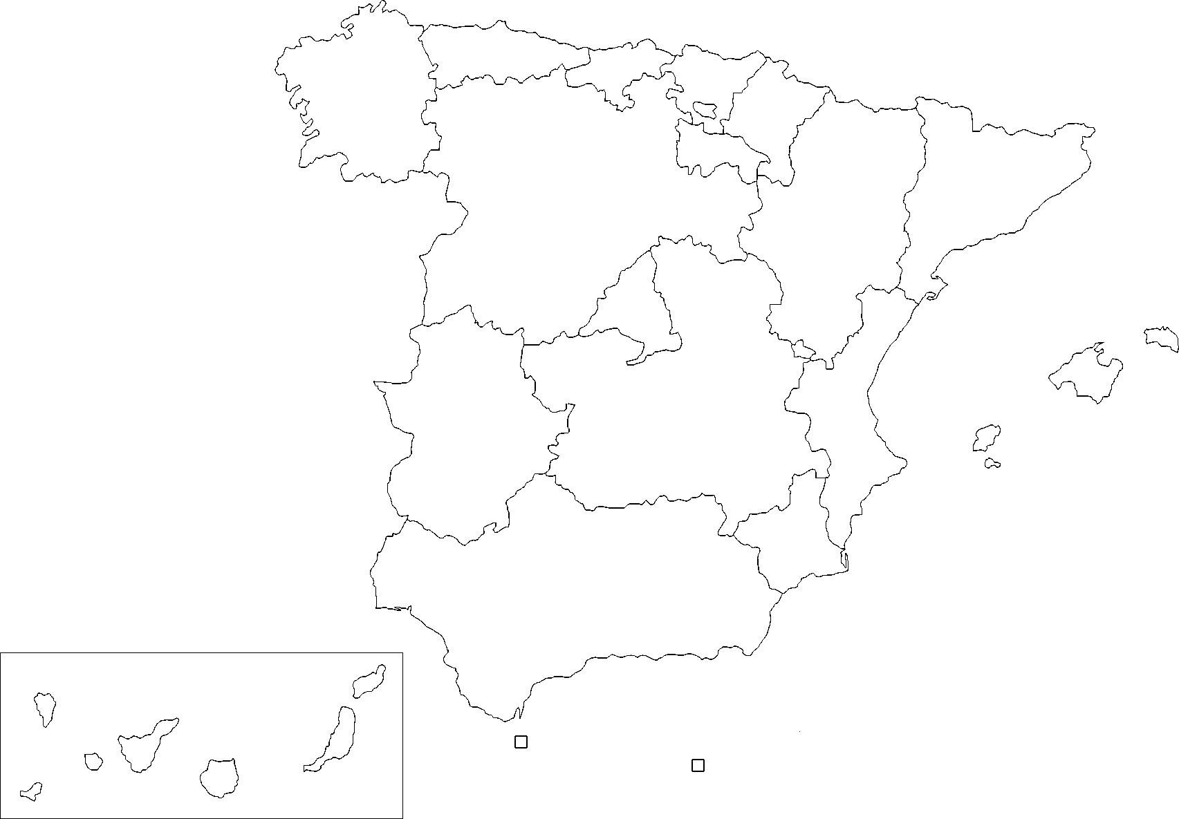 Carte Espagne Vierge Régions, Carte Vierge Des Régions De L intérieur Carte Département Vierge