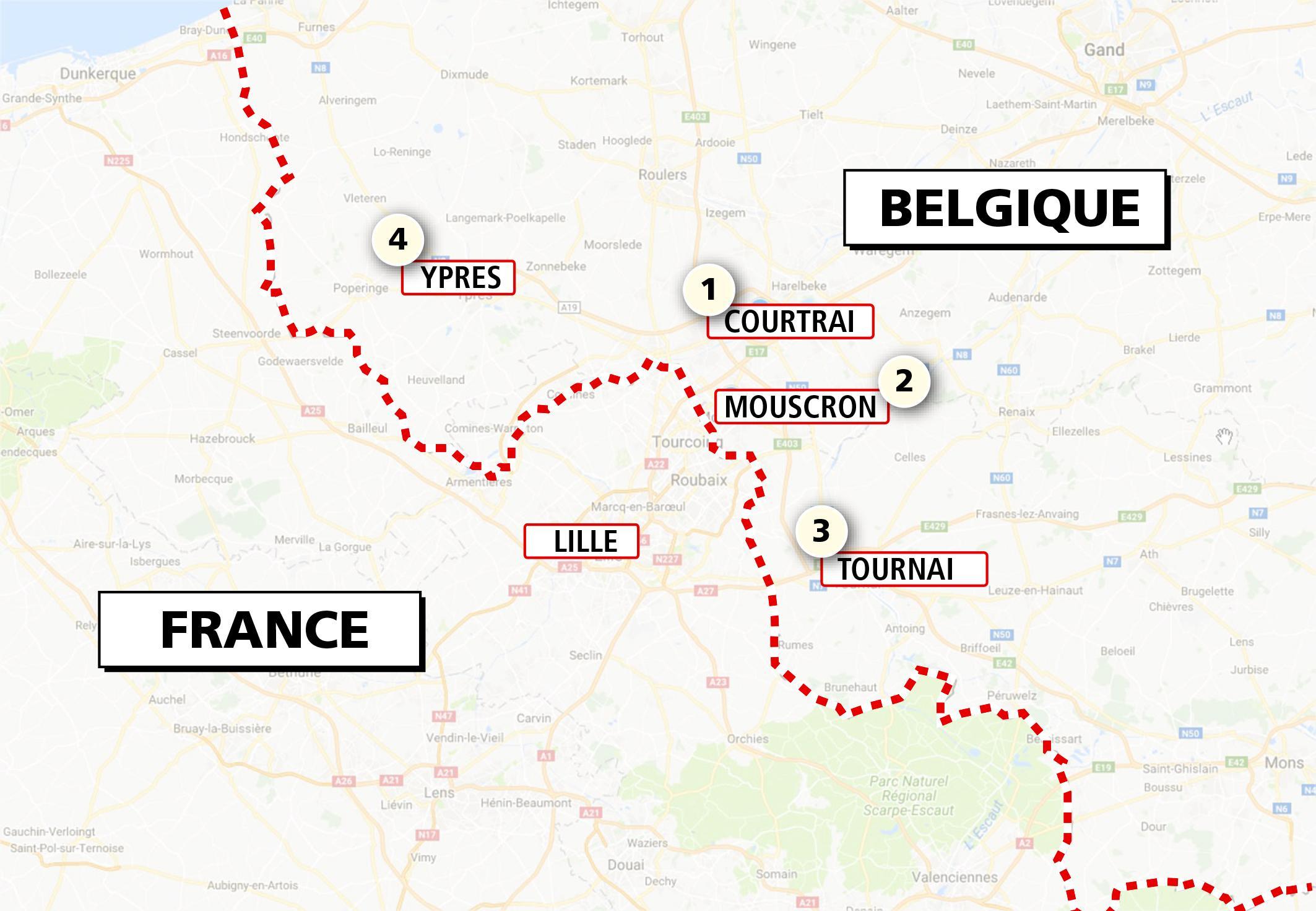 Carte Et Itinéraires] Quatre Villes De Belgique À Découvrir serapportantà Carte De France Grande Ville