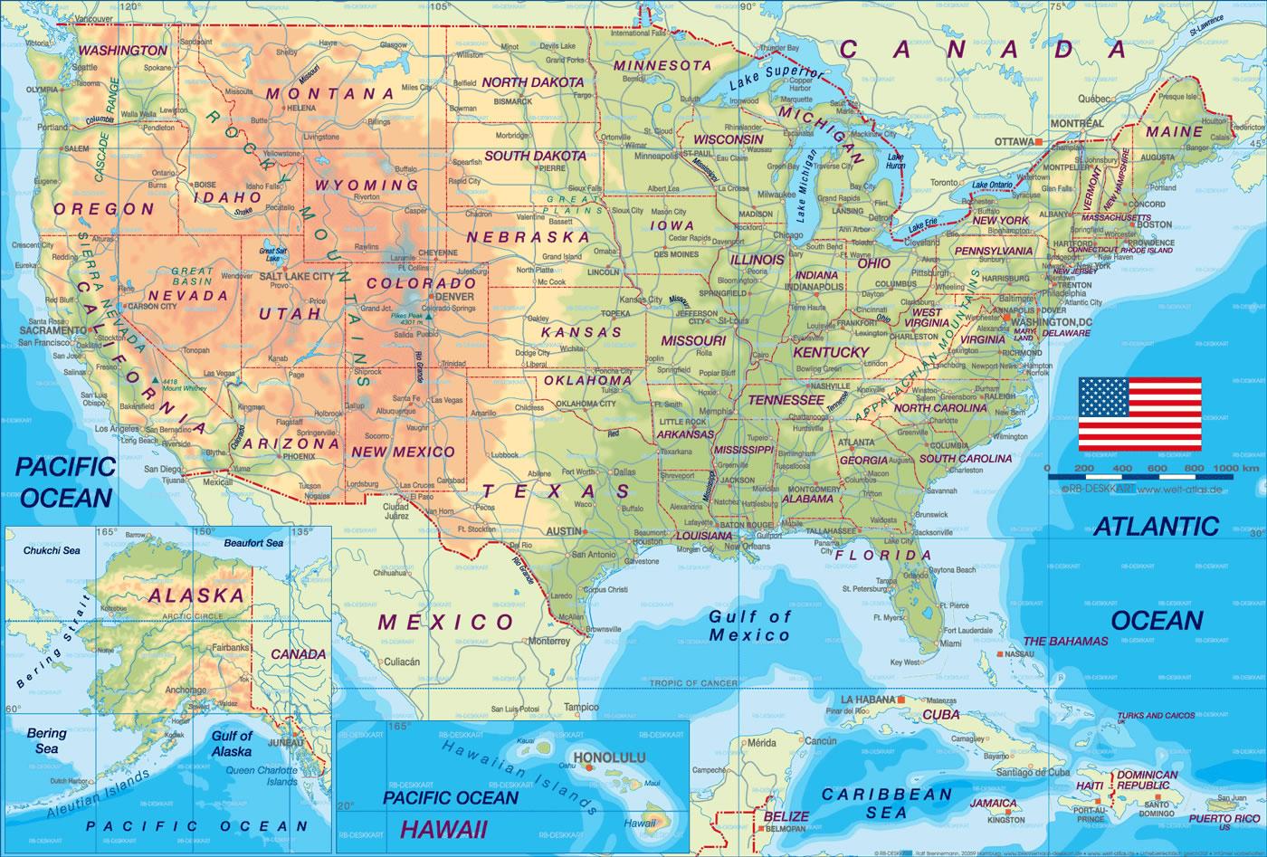 Carte États-Unis, Carte Des États-Unis encequiconcerne Carte Des Etats Unis À Imprimer