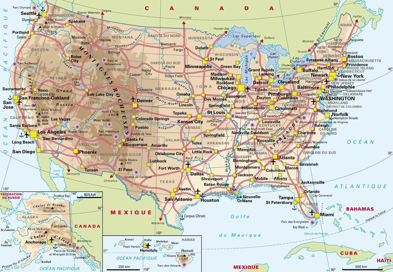 Carte Etats-Unis - Vacances » Vacances - Arts- Guides Voyages pour Carte Des Etats Unis À Imprimer