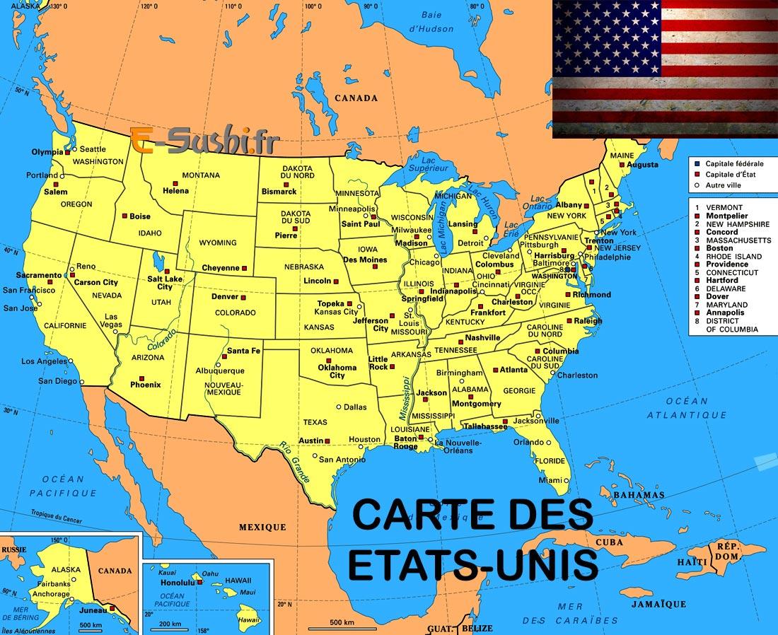 Carte Etats Unis Villes - Images - Arts Et Voyages pour Carte Etat Amerique