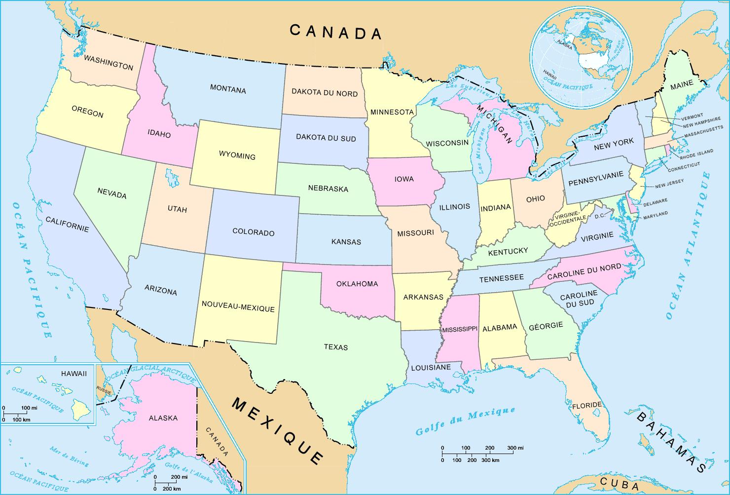 Carte Etats Unis Villes » Vacances - Arts- Guides Voyages dedans Carte Etat Amerique