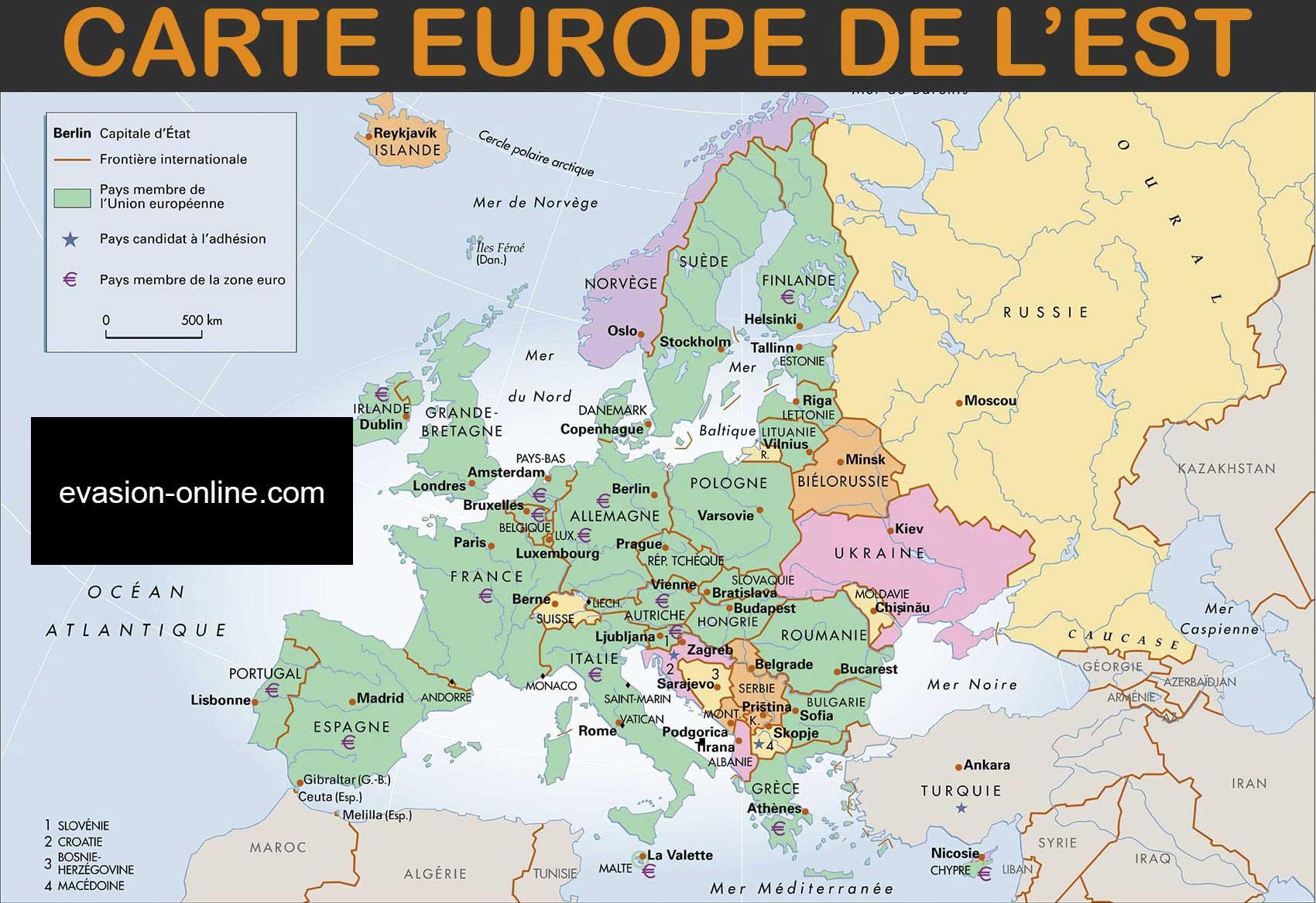 Carte Europe De L'est - Images » Vacances - Arts- Guides Voyages encequiconcerne Carte Europe Pays Capitales