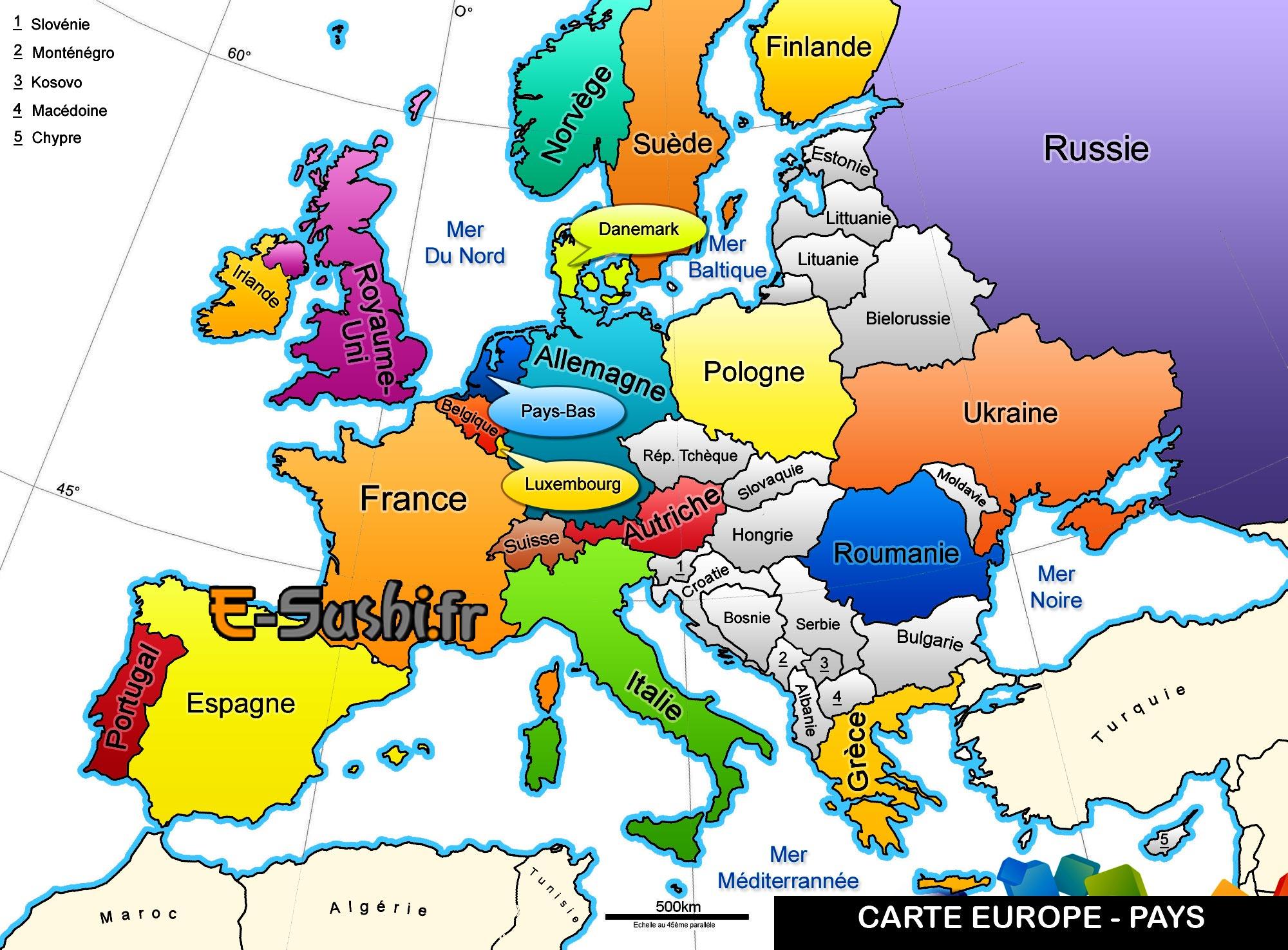 Carte Europe - Géographie Des Pays - Arts Et Voyages encequiconcerne Pays Et Capitales Union Européenne