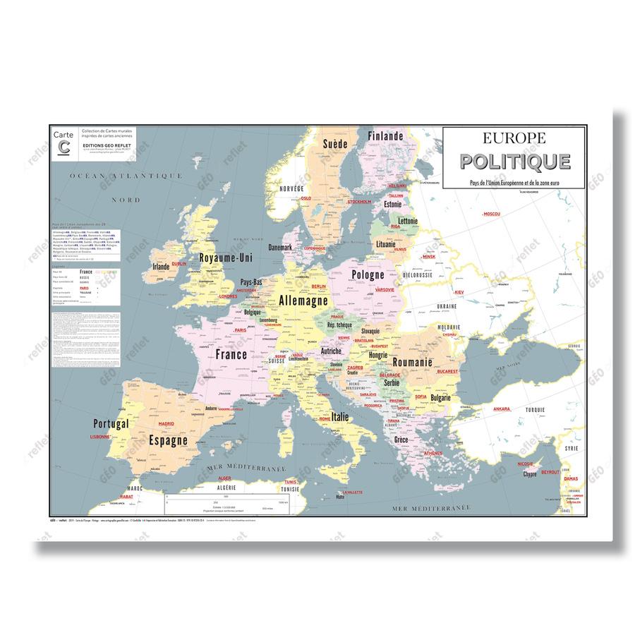 Carte Europe Politique Et Union Européenne : Affiche Format 80X60 Cm pour Carte Europe Pays Capitales