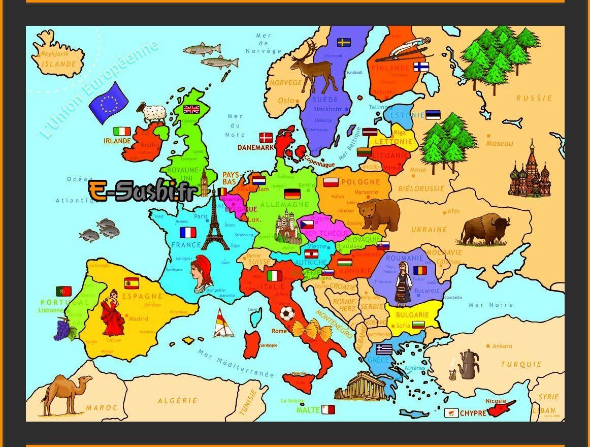 Carte Europe - Symboles Des Pays | Carte Europe, Géographie intérieur Carte Europe Enfant