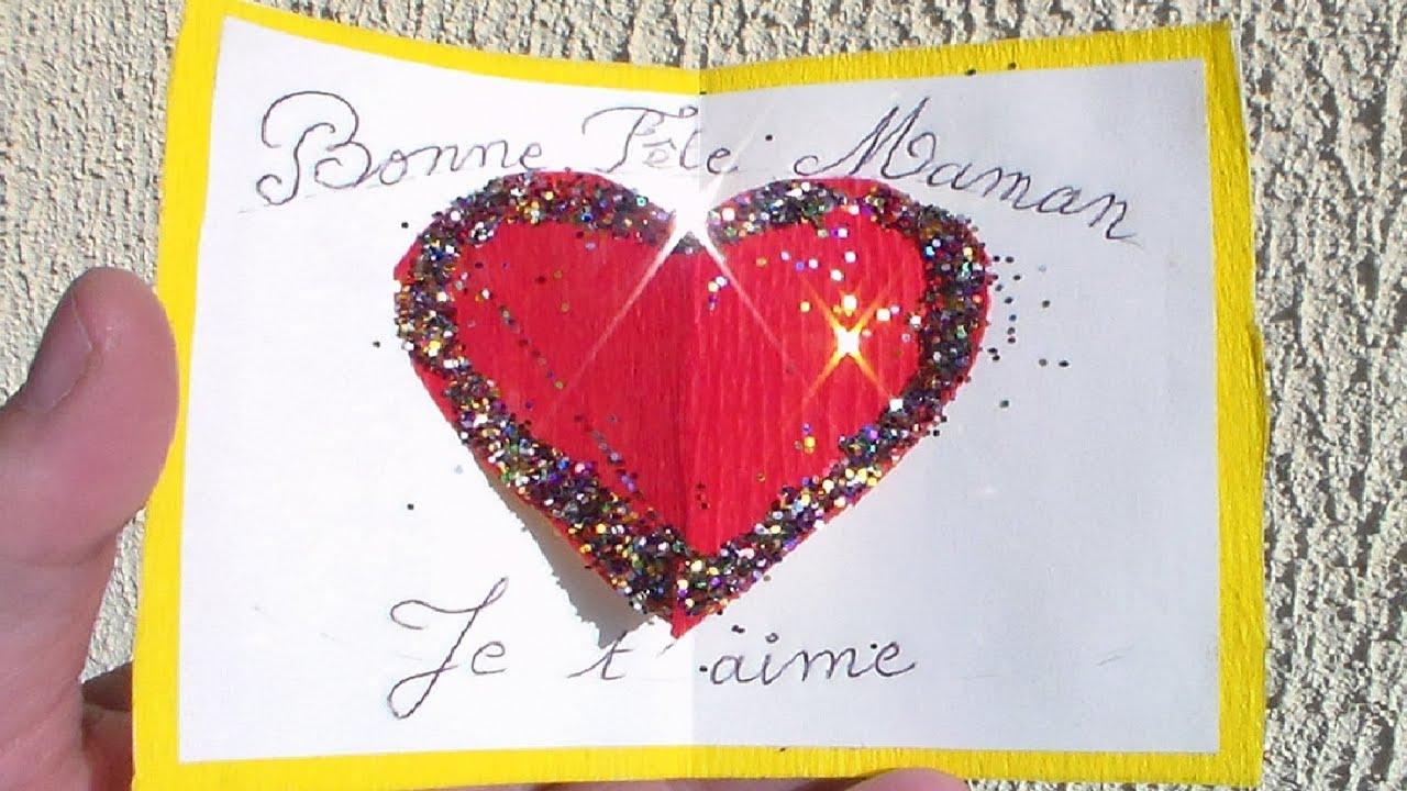 Carte Fête Des Mères Gratuite Avec Un Gros Cœur En 3D Pour Maman avec Carte Fête Des Mères À Imprimer