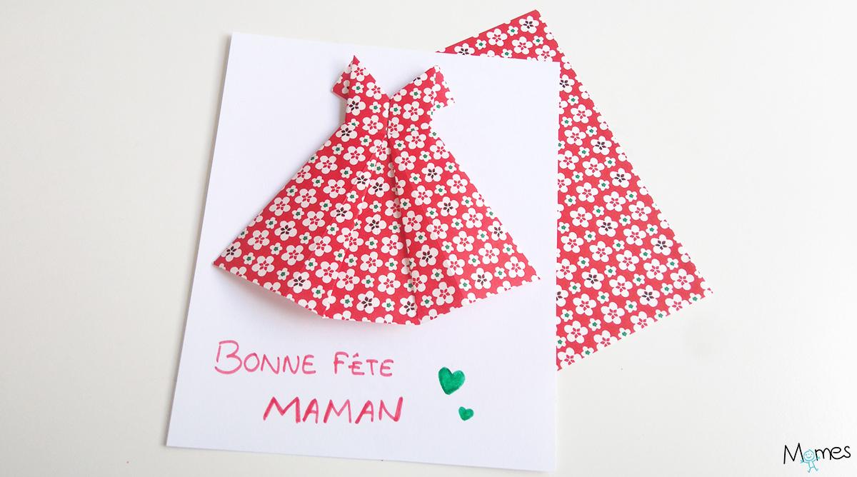 Carte Fête Des Mères : Une Robe En Origami - Momes dedans Carte A Imprimer Fete Des Meres